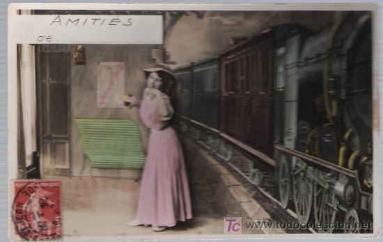 POSTAL FRANCESA. FRANQUEADO Y FECHADO EN FRANCIA EN 1908. (Postales - Postales Temáticas - Trenes y Tranvías)