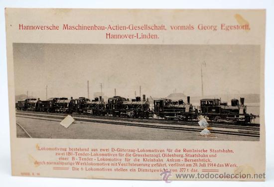 POSTAL ALEMANA 6 LOCOMOTORAS HANNOVER LINDEN HANOMAG PP S XX CIRCULADA (Postales - Postales Temáticas - Trenes y Tranvías)