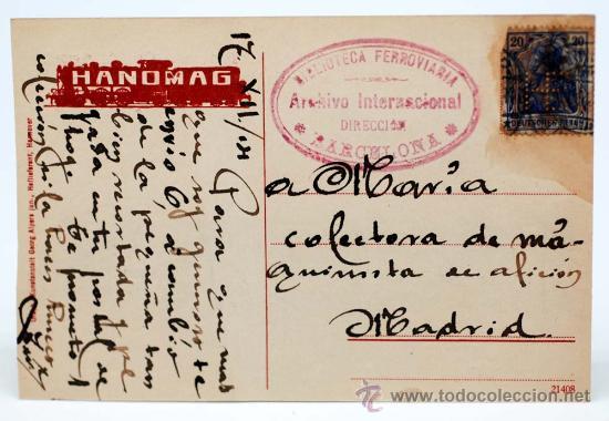 Postales: Postal alemana 6 locomotoras Hannover Linden Hanomag Pp s XX circulada - Foto 2 - 21042177
