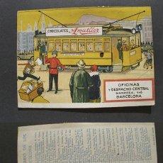 Postales: POSTAL PUBLICIDAD MOVIL: CHOCOLATES AMATLLER - NUMERACIÓN E ITINERARIOS DE LOS TRANVÍAS DE BARCELONA. Lote 22088813