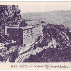 Postales: MONTSERRAT (BARCELONA): FERROCARRIL CREMALLERA DESDE EL FUNICULAR DE SAN JUAN. ZERKOWITZ (AÑOS 40). Lote 23750361