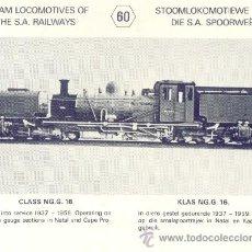 Postales: POSTAL LOCOMOTORA SOUTH AFRICA Nº 60 CLASS NG G16 1937. Lote 28170699