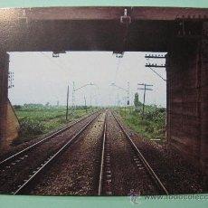 Postales: POSTAL COLECCION RENFE. SERIE IE-3. CASTEJÓN-ZARAGOZA. VÍA ELECTRIFICADA. AÑO 1976. FERROCARRIL.. Lote 29114431