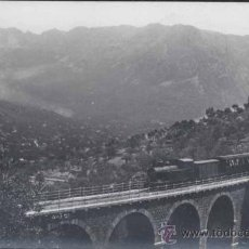 Postales: POSTAL FOTOGRÁFICA DE FERROCARRIL SOBRE PUENTE EN SOLLER (MALLORCA). Lote 30812254