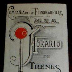 Postales: ANTIGUO HORARIO DE TRENES DE LA COMPAÑIA DE FERROCARRILES DE M.Z.A., MARZO DE 1933, MIDE 12 X 8 CMS.. Lote 32574867