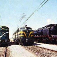 Postales: RENFE AÑO 1973 3 LOCOMOTORAS RENFE CON DISTINTO SISTEMA DE TRACCIÓN SIN CIRCULAR. Lote 33541159