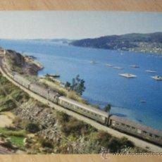 Postales: POSTAL RENFE. SERIE V-7. CHAPELA (VIGO). EXPRESO DE MADRID A GALICIA. AÑO 1977.. Lote 33671849