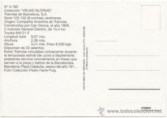 Postales: TRANVÍA DE BARCELONA, SERIE 125-132, TIPO JARDINERAS, CONSTRUIDO POR CAN GIRONA EN EL AÑO 1906. - Foto 2 - 34619113