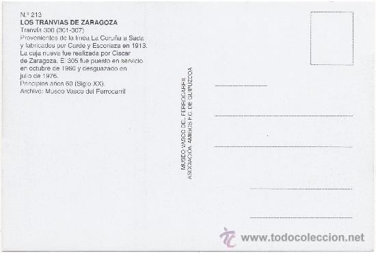 Postales: TRANVÍA DE ZARAGOZA. COCHE Nº 300, FABRICADO POR CARDE Y ESCORIAZA EN 1913. - Foto 2 - 34941256
