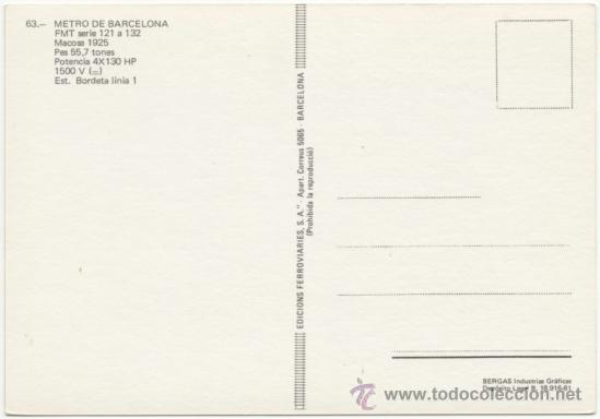 Postales: METRO DE BARCELONA. FMT SERIE 121 A 132, CONSTRUIDO POR MACOSA EN 1925. ESTACIÓN BORDETA (LÍNEA 1). - Foto 2 - 37189533