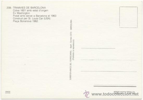 Postales: TRAMVIA DE BARCELONA. COTXE 1601 EX WASHINGTON, CONSTRUÏT PER SAINT LOUIS CAR (USA), SERVEI EN 1963. - Foto 2 - 37413794