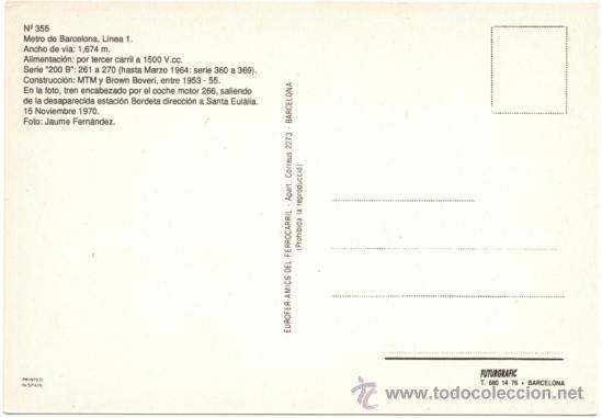 Postales: METRO DE BARCELONA, LÍNEA 1. TREN ENCABEZADO POR EL COCHE MOTOR 266, EN LA ESTACIÓN DE LA BORDETA. - Foto 2 - 38299044