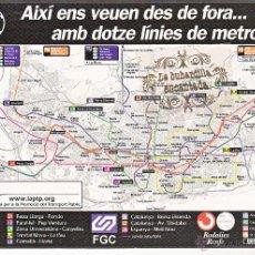 Postales: POSTAL - LAS LINEAS DE METRO FERROCARRIL GENERALITAT Y RENFE EN BARCELONA. Lote 74245217