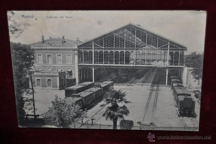 ANTIGUA POSTAL DE MADRID. ESTACION DEL NORTE. CIRCULADA (Postales - Postales Temáticas - Trenes y Tranvías)