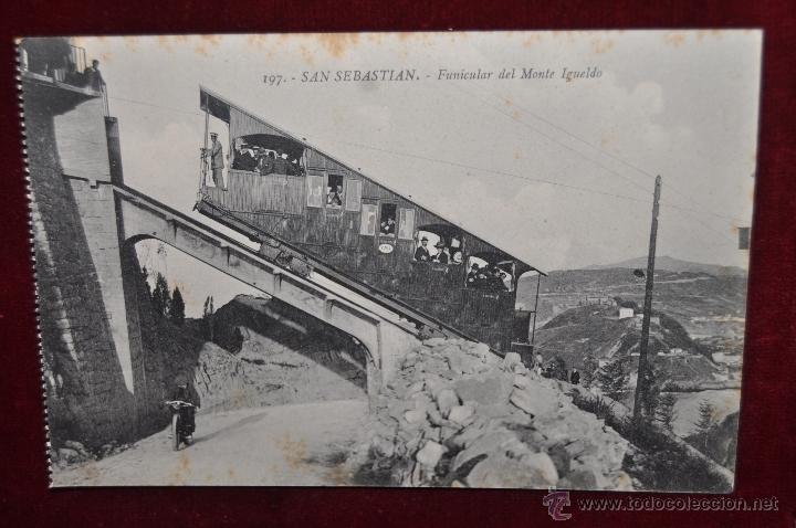 ANTIGUA POSTAL DE SAN SEBASTIAN. FUNICULAR DEL MONTE IGUELDO. SIN CIRCULAR (Postales - Postales Temáticas - Trenes y Tranvías)
