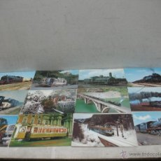 Postales: LOTE DE 35 POSTALES FERROVIARIAS DE LOCOMOTORAS VAGONES TRANVÍAS. Lote 45273346