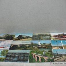Postales: LOTE DE 35 POSTALES FERROVIARIAS DE LOCOMOTORAS VAGONES TRANVÍAS METROS VÍAS SEÑALES. Lote 45274457