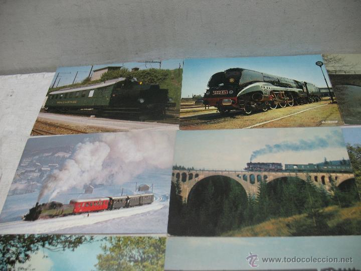 Postales: Lote de 35 postales ferroviarias de locomotoras vagones tranvías metros vías señales - Foto 2 - 45274457