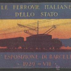Postales: BARCELONA - POSTAL PUBLICITARIA SOBRE FERROCARRIL - EXPOSICION AÑO 1929 - (31732). Lote 48993714