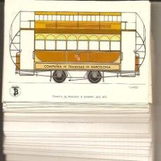 Postales: TRANVÍAS DE BARCELONA: COLECCIÓN DE 55 POSTALES DEL CENTENARIO. 1972. FALTA UNA PARA COMPLETAR. Lote 49265846