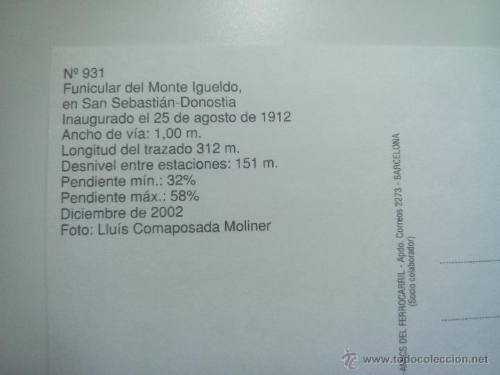 Postales: EUROFER AMICS FERROCARRIL Nº 931 FUNICULAR DEL MONTE IGUELDO SAN SEBASTIAN DONOSTIA (AÑO 2002) - Foto 2 - 53496297