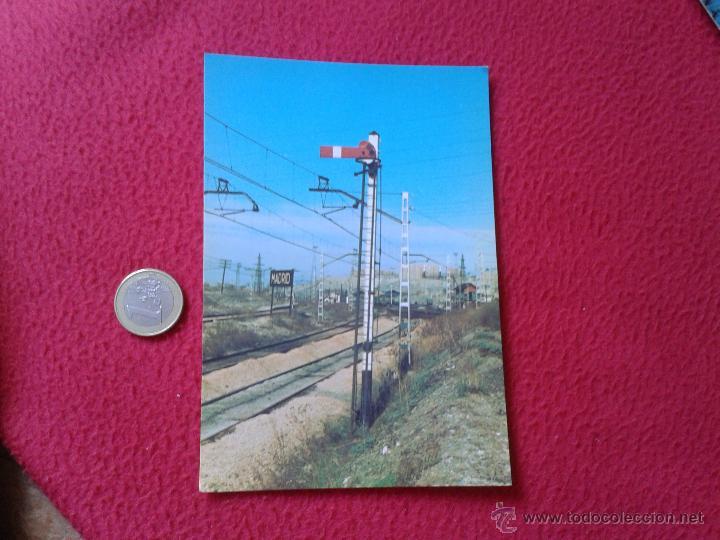 TARJETA POSTAL POST CARD HISTORIA FERROCARRIL ESPAÑOL TREN TRAIN SEMAFORO TIPO MZA MADRID ATOCHA VER (Postales - Postales Temáticas - Trenes y Tranvías)