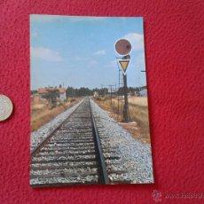 Postales: TARJETA POSTAL POST CARD HISTORIA FERROCARRIL ESPAÑOL DISCO ROJO AVANZADO CON TRIANGULO ALMAZAN VER . Lote 54671464