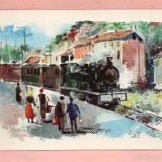 Postales: POSTAL DIBUJO DE HONT PUBLICIDAD CAJA DE AHORROS Y PENSIONES FERROCARRIL GIRONA OLOT 1911 - 1969. Lote 61332383