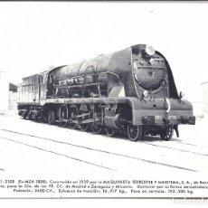 Postales: AT1. FOTO POSTAL LOCOMOTORA RENFE.EX-MZA 1808. Lote 75211767