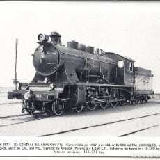 Postales: AT5. FOTO POSTAL LOCOMOTORA RENFE EX CENTRAL ARAGON 74. Lote 75212275