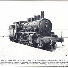 Postales: AT7. FOTO POSTAL LOCOMOTORA RENFE EX NORTE 3101. Lote 75212459