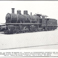Postales: AT8. FOTO POSTAL LOCOMOTORA RENFE EX CENTRAL ARAGON 53. Lote 75212667