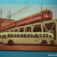 Postales: POSTAL - TRENES Y TRANVIAS - LOS ANGELES MTA USA- PACIFIC ELECTRIC RED CARS - MAIN ST. STATION 1959. Lote 83773656