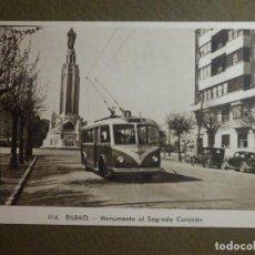 Postales: POSTAL - TRANVIAS - BILBAO - 114.- MONUMENTO AL SAGRADO CORAZÓN - L. ROISIN - NE-NC. Lote 95782407
