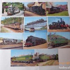 Postales: 11 POSTALES DEL 1 AL 11, NUMERADAS, TRENES Y TRANVIA.. Lote 99086099