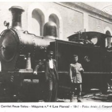 Postales: FOTOGRAFIA FERROCARRIL REUS A SALOU CARRILET MAQUINA Nº 4 LES PLANES 1947 FOTO ARCHIU J GISPERT. Lote 288613358
