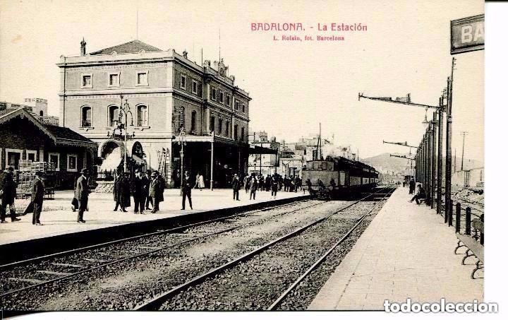 BADALONA--LA ESTACIÓN DEL FERROCARRIL-KIOSCO ANIS DEL MONO - ROISIN-- MUY RARA (Postales - Postales Temáticas - Trenes y Tranvías)