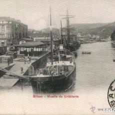 Postales: BILBAO- MUELLE DE URIBITARTE-1905.FERROCARRIL-BARCOS-P.Z. 10221-MUY RARA. Lote 104001111