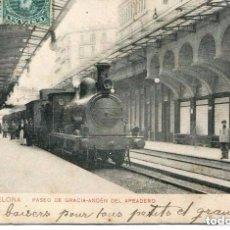 Postales: BARCELONA-FERROCARRIL APEADERO DEL Pº DE GRACIA- 1908. Lote 104001331