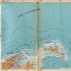 Postales: MAPA-MALLORCA-INCA-MENORCA- AÑOS 50-LINEAS DE FERROCARRIL -CARRETERAS- PUBLICIDAD-30X22-RARO. Lote 104001903
