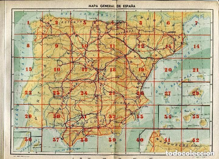 MAPA-GENERAL DE ESPAÑA-- AÑOS 50-LINEAS DE FERROCARRIL -CARRETERAS- PUBLICIDAD-30X22-RARO (Postales - Postales Temáticas - Trenes y Tranvías)
