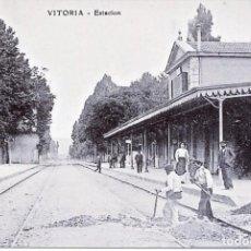 Postales: VITORIA-ESTACIÓN FERROCARRIL- REPRO-2000. Lote 109060671