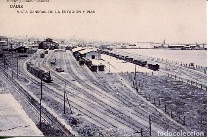 CÁDIZ-VISTA GENERAL ESTACIÓN FERROCARRIL- REPRO-2000 (Postales - Postales Temáticas - Trenes y Tranvías)