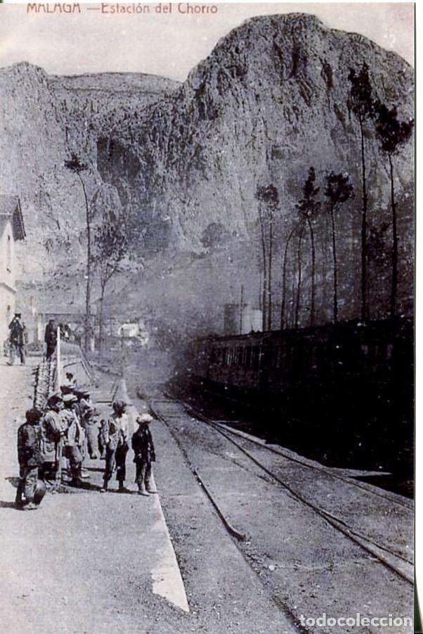 MÁLAGA--ESTACIÓN DEL CHORRO- FERROCARRIL -REPRO 2000. (Postales - Postales Temáticas - Trenes y Tranvías)
