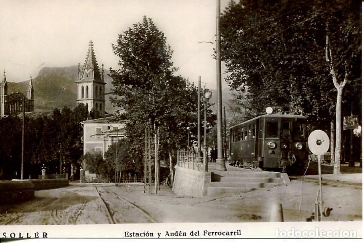 SOLLER-ESTACIÓN Y ANDEN DEL FERROCARRIL -REPRO 2000. (Postales - Postales Temáticas - Trenes y Tranvías)