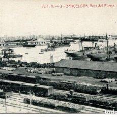 Postales: BARCELONA-VISTA DEL PUERTO -FERROCARRIL-AÑO 1908- A. T. V. Nº 3. Lote 164401197