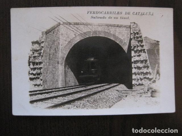 FERROCARRILES DE CATALUÑA - SALIENDO DE UN TUNEL - CIRCULADA - POSTAL ANTIGUA - VER FOTOS -(51.646) (Postales - Postales Temáticas - Trenes y Tranvías)