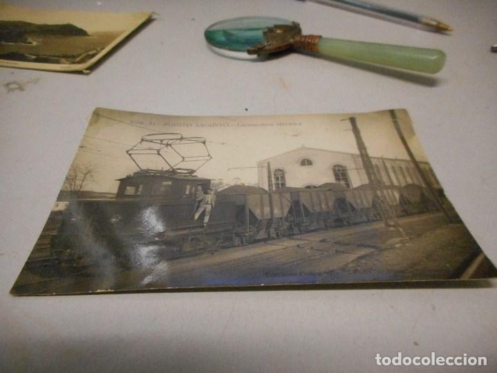POSTAL FOTOGRAFICA PUERTO DE SAGUNTO LOCOMOTORA ELECTRICA (Postales - Postales Temáticas - Trenes y Tranvías)