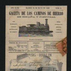 Postales: GACETA DE LOS CAMINOS DEL HIERRO.POSTÁL CIRCULADA.AÑO 1902.. Lote 124534607