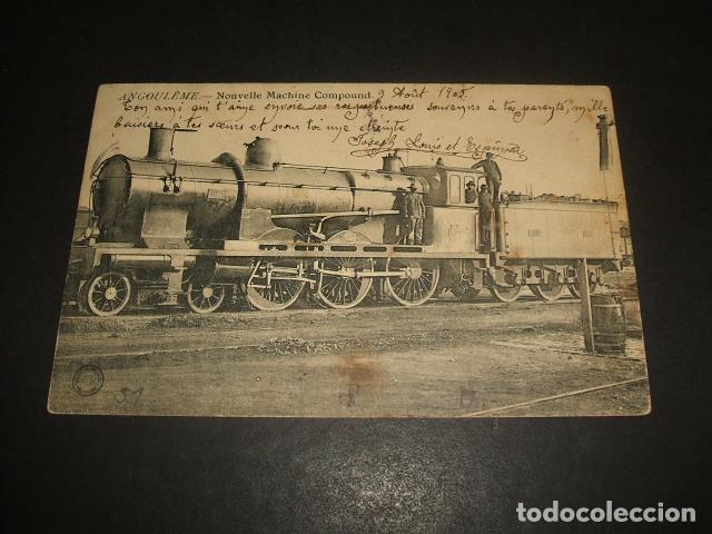 ANGULEMA FRANCIA NUEVA MAQUINA TREN FERROCARRIL POSTAL 1905 (Postales - Postales Temáticas - Trenes y Tranvías)